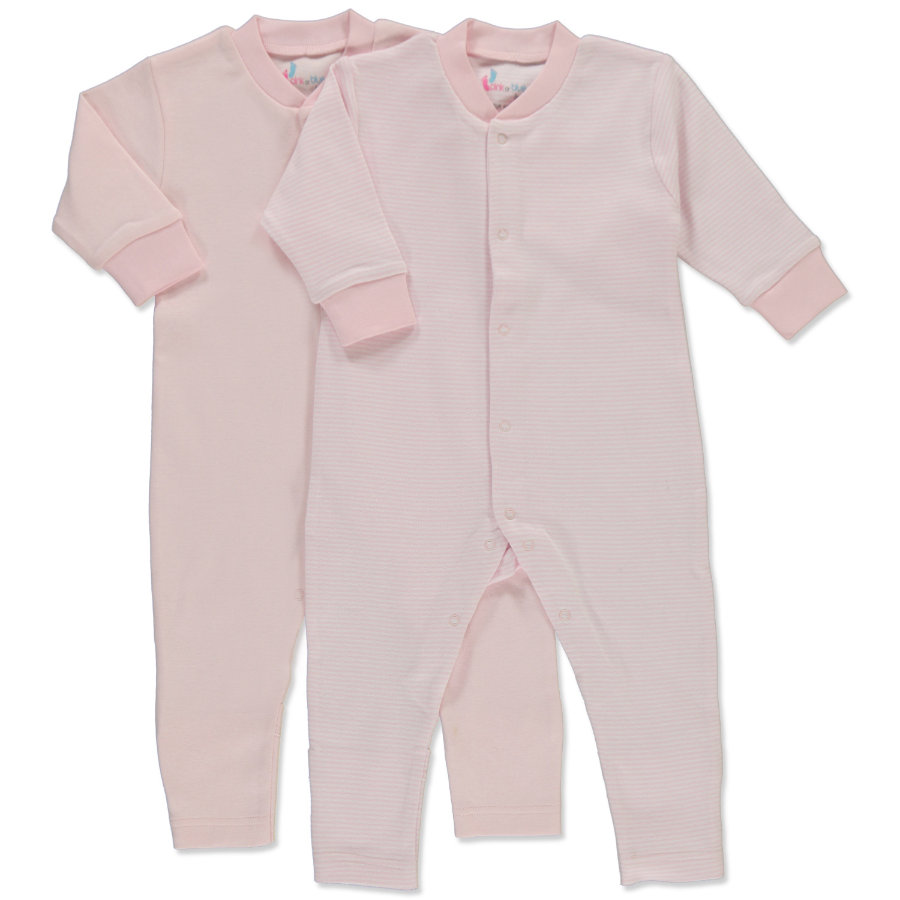 pink or blue Girls Baby Schlafoverall 1/1 Arm 2er Pack rosa, geringelt