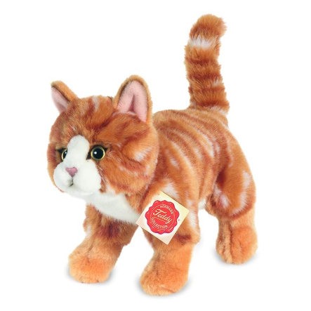 HERMANN® Teddy Peluche chat tigré rouge debout, 20 cm