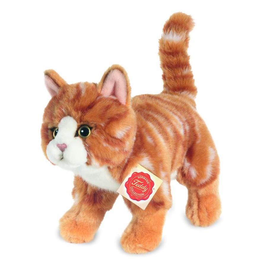 HERMANN® Teddy Kat stående, rød med striber 20 cm