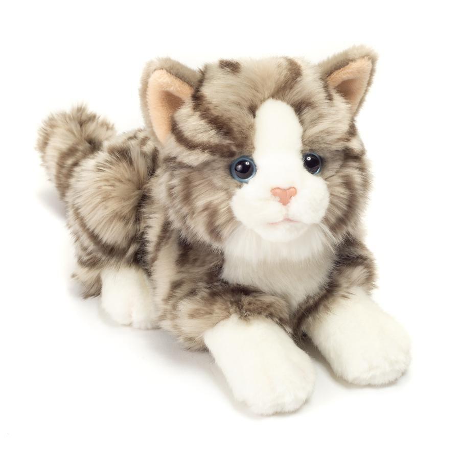 HERMANN® Teddy Peluche chat tigré gris couché, 20 cm