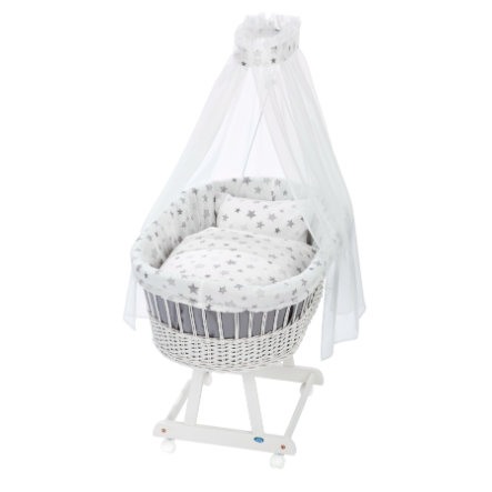 ALVI Vauvan Korisänky Birthe sänkysetillä, valkoinen 777-9 tähdet, hopeanharmaa