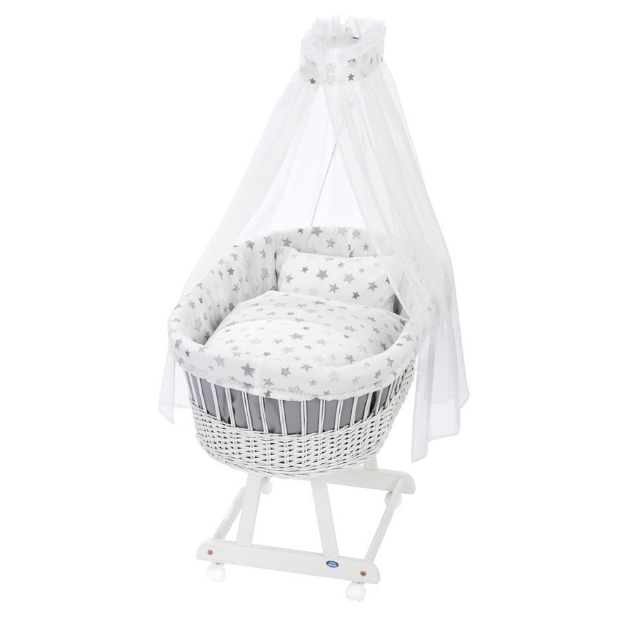 Alvi® Berceau à roulettes complet Birthe blanc étoiles argent 777-9
