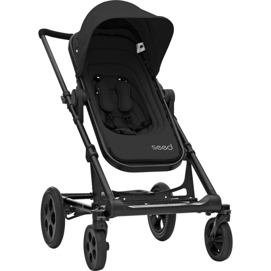 Seed Kinderwagen Papilio black / black leather, Gestellfarbe Black