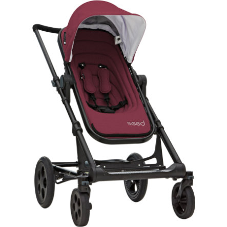 Seed Kinderwagen Papilio marsala / black leather, Gestellfarbe Black