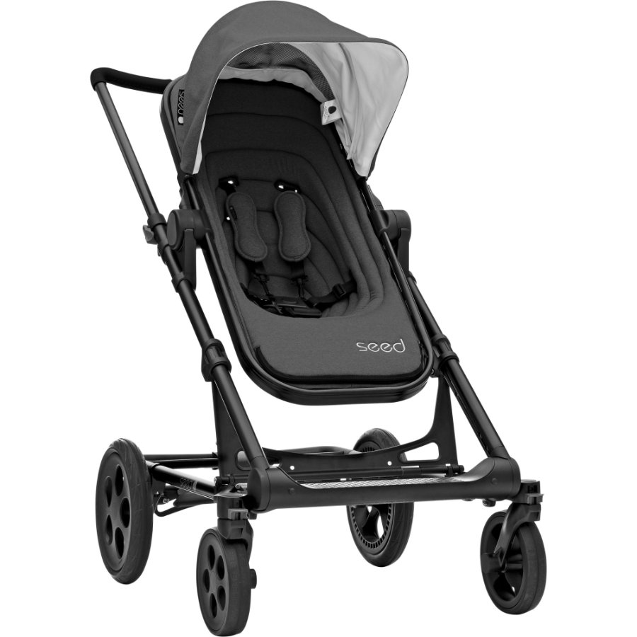 Seed Kinderwagen Papilio dark grey melange / black leather, Gestellfarbe Black