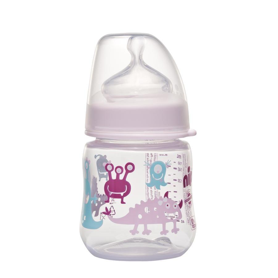 nip Biberon à col large PP Girl 150ml tétine silicone lait taille 0+ Monste Girl