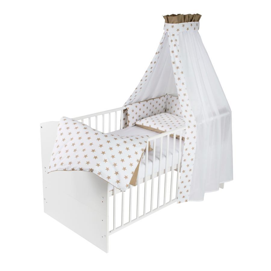 Schardt Lit bébé évolutif et linge de lit Classic White, Big Stars, beige