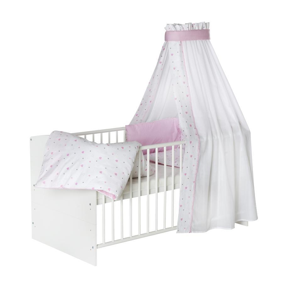 schardt bettset 4 teilig 100 x 135 cm herzchen rosa baby. Black Bedroom Furniture Sets. Home Design Ideas