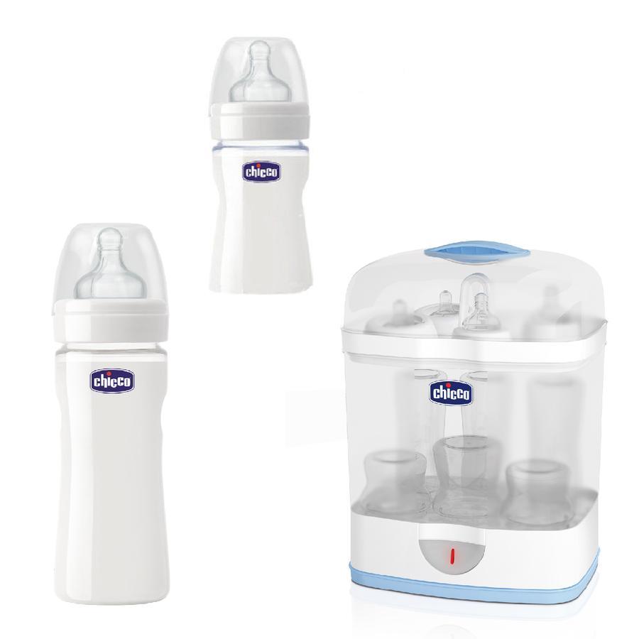 chicco Sterilizzatore SterilNatural 2-in-1 + 2x gratis biberon chicco benessere 150ml und 240ml