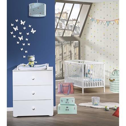 Baby Price Chambre bébé Duo lit à barreaux, commode 3 tiroirs Basic