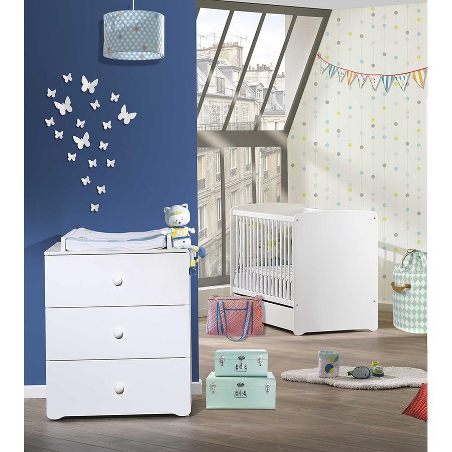 Baby Price Chambre bébé Duo lit, commode 3 tiroirs, Basic blanc