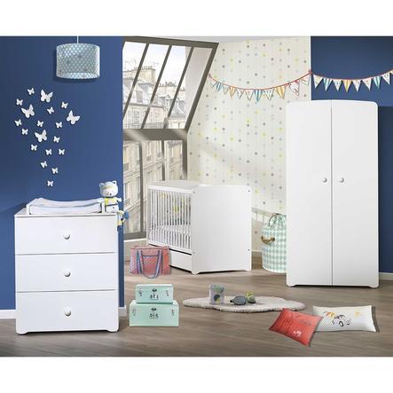 Baby Price Chambre bébé Trio lit bébé, commode 3 tiroirs, armoire Basic