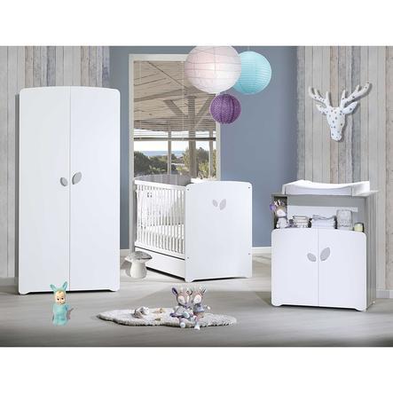 Baby Price Chambre bébé Trio lit, commode 2 tiroirs, armoire Leaf