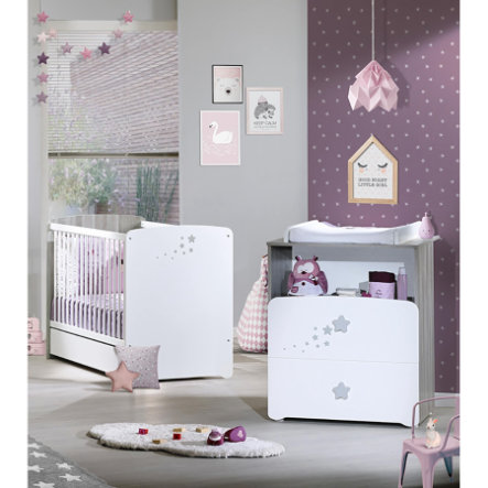 Baby Price Chambre bébé Duo lit, commode 2 tiroirs, niche Nao