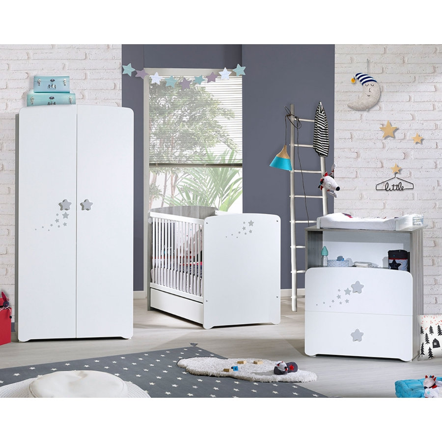 Baby Price Chambre bébé Trio lit, commode 2 tiroirs, armoire Nao