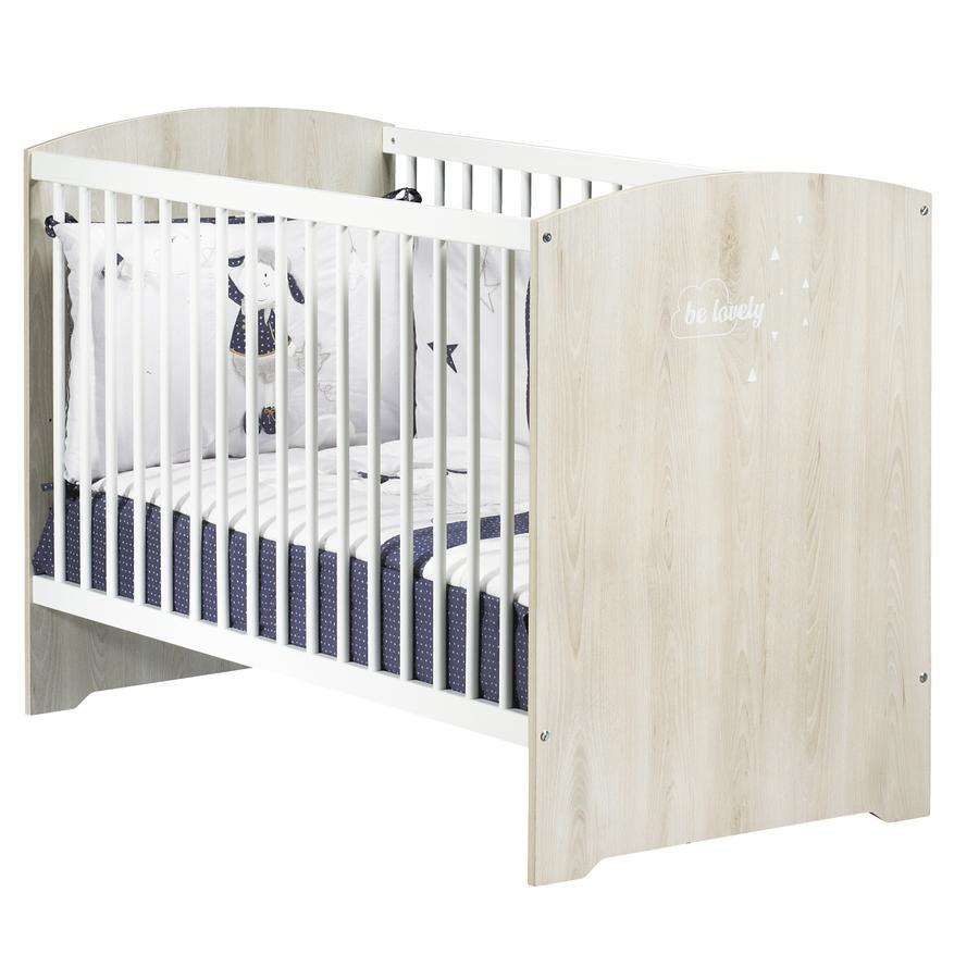Baby Price Lit enfant à barreaux Smile 60x120 cm, hêtre cendré