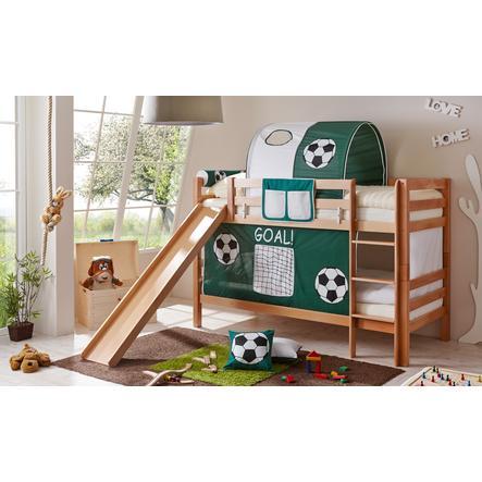 TiCAA patrová postel Lupo natur Goal se skluzavkou