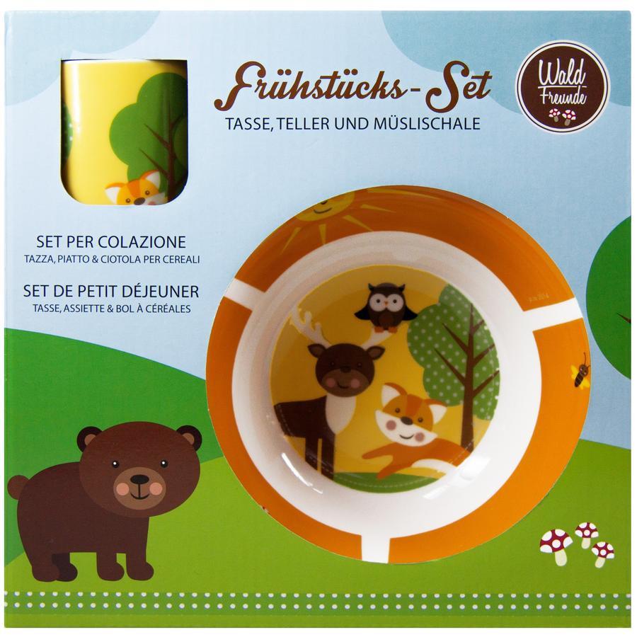 P:OS Zestaw śniadaniowy z porcelany Leśni przyjaciele