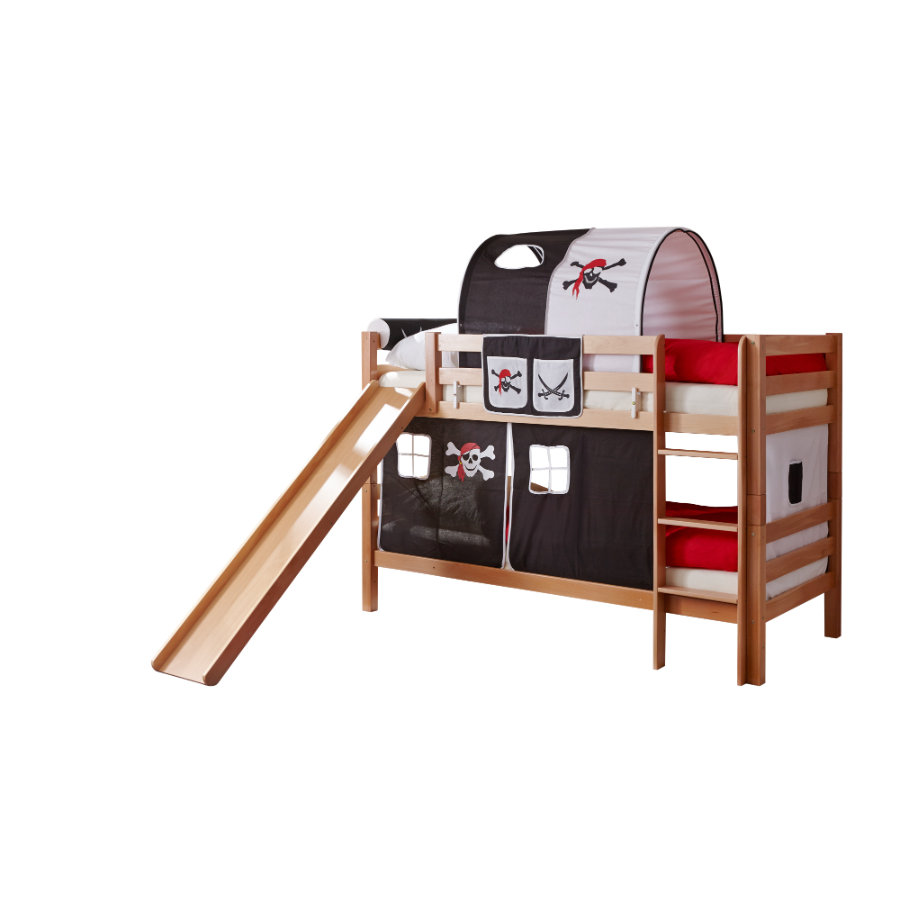 TiCAA patrová postel Lupo natur Pirát černo-bílá s klouzačkou