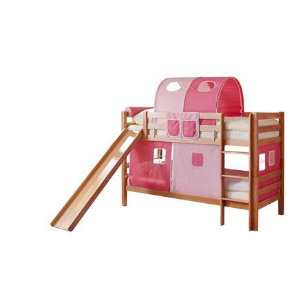 TiCAA patrová postel Lupo natur růžová - pink s klouzačkou