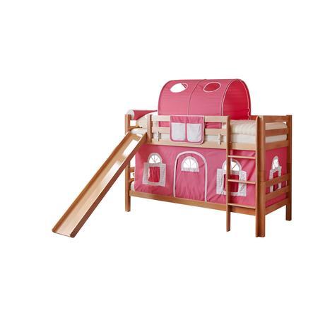 TiCAA Etagenbett mit Rutsche Lupo natur rosa-weiß