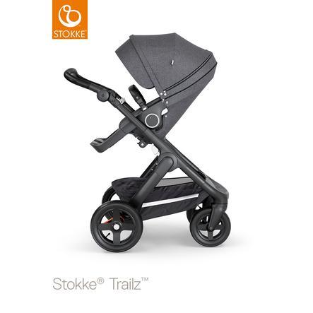 STOKKE® Kinderwagen Trailz™ Black/Black mit Geländerädern und Sportwagenaufsatz Black Melange