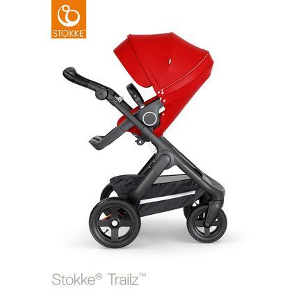 STOKKE® Kinderwagen Trailz™ Black/Black mit Geländerädern und Sportwagenaufsatz Red
