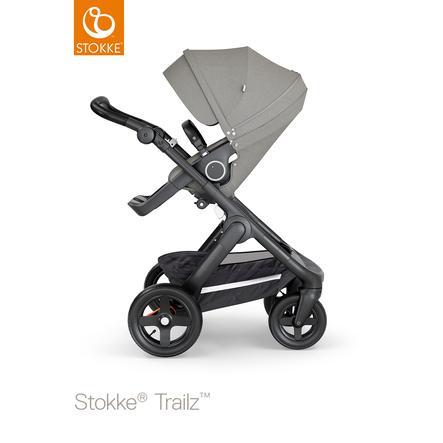 STOKKE® Kinderwagen Trailz™ Black/Black mit Geländerädern und Sportwagenaufsatz Brushed Grey