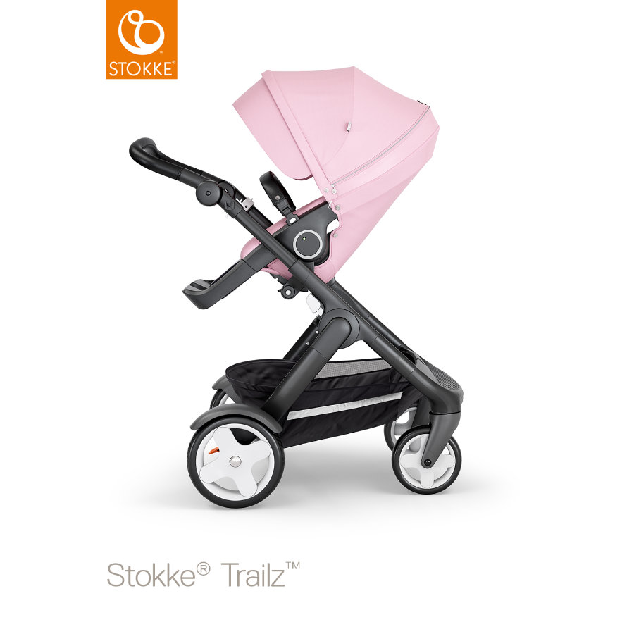 STOKKE® Kinderwagen Trailz™ Black/Black mit Klassikrädern und Sportwagenaufsatz Lotus Pink