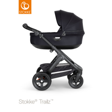 STOKKE® Kinderwagen Trailz™ Black/Black mit Geländerädern und Babyschale Black