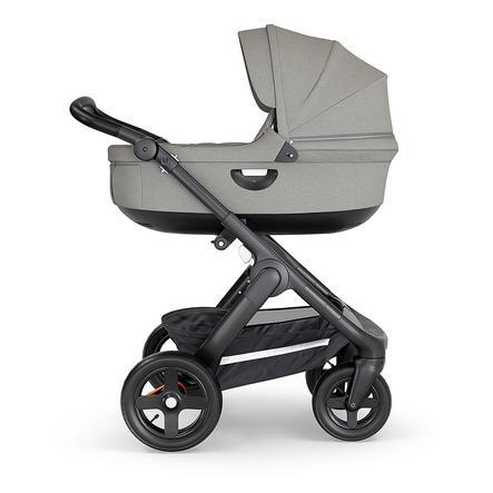 STOKKE® Kinderwagen Trailz™ Black/Black mit Geländerädern und Tragewanne Brushed Grey