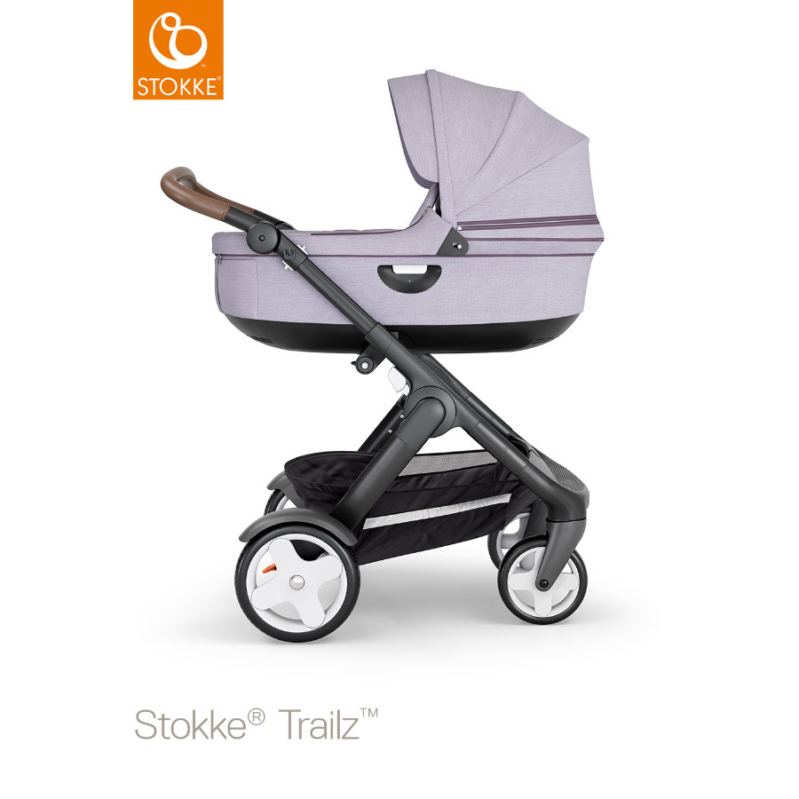 STOKKE® Kinderwagen Trailz™ Black/Brown mit Klassikrädern und Babyschale Brushed Lilac