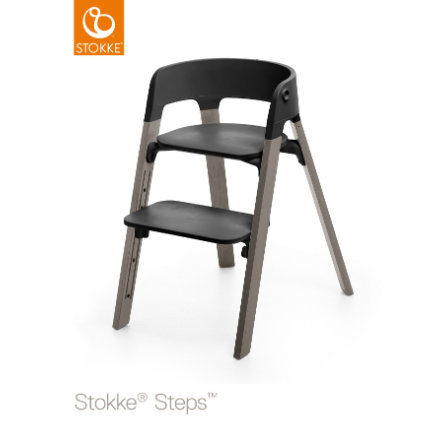 STOKKE® Steps™ Hochstuhl schwarz Buche Hazy Grey