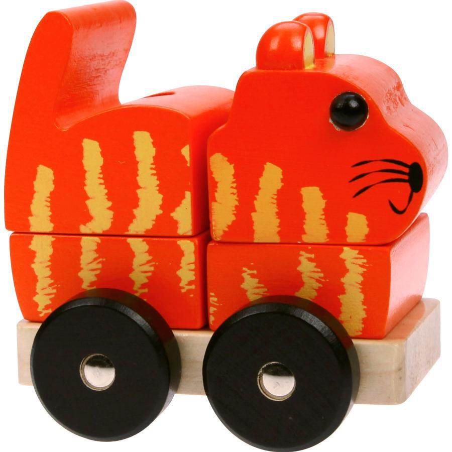 LENA Drewniany kotek Puzzle 3D