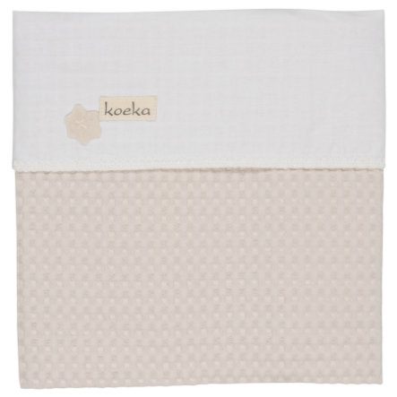koeka kinderdeken wafelpique/flanel Antwerp pebble/white