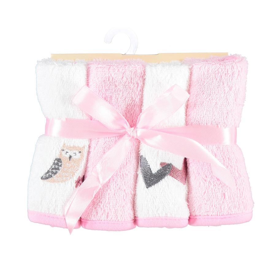 HÜTTE & CO Lot de 4 gants de toilette chouette 25 x 25 cm