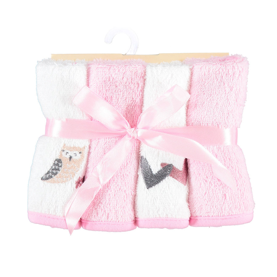 HÜTTE & CO Tvättlappar 4-pack Uggla 25x25 cm