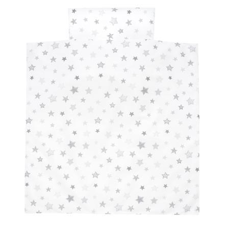 Alvi povlečení 80 x 80 cm, hvězdičky exklusiv, stříbrné, šedé