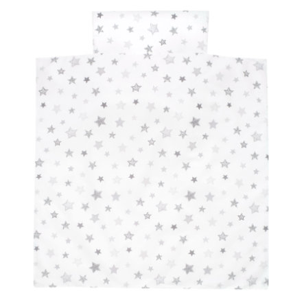 Alvi Ropa de cama 80 x 80 cm, Estrellas gris plata exclusivo