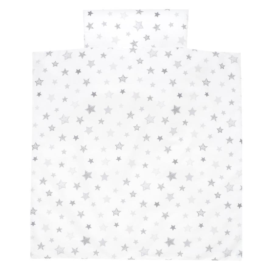 Alvi Biancheria da lettino 80 x 80 cm, Stelle grigio argento Esclusivo