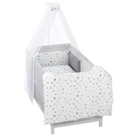 Alvi 3-częściowy zestaw łóżkowy, gwiazdy srebrnoszare Ekskluzywny