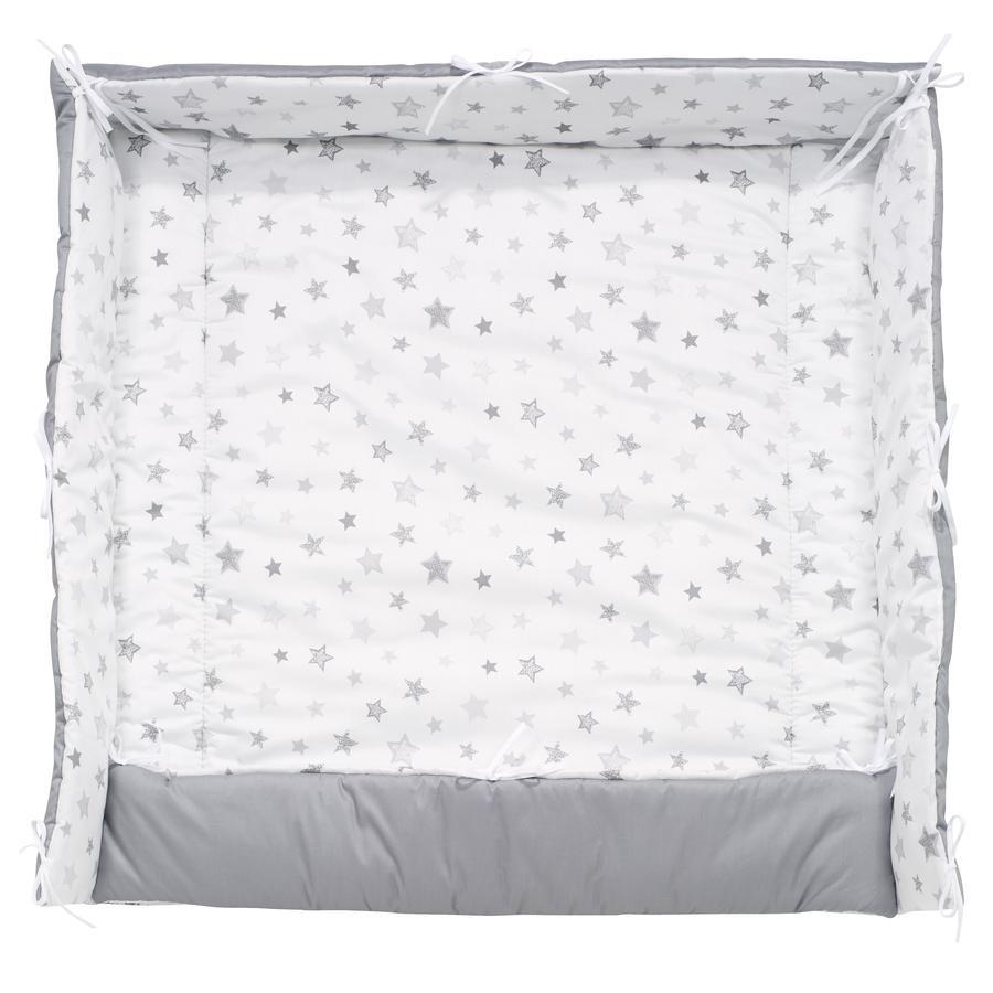Alvi® Tour de parc étoiles gris argenté exclusif, 70 cm/100 cm