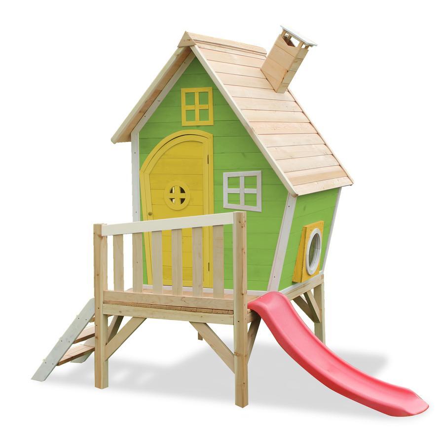EXIT Maison cabane de jardin enfant avec toboggan Fantasia 300, bois, vert
