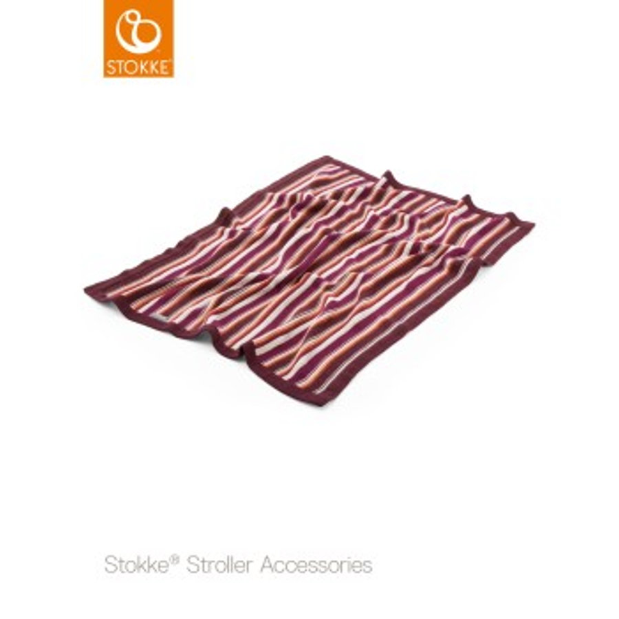 STOKKE® Kinderwagen Strickdecke Purple/Orange Streifen