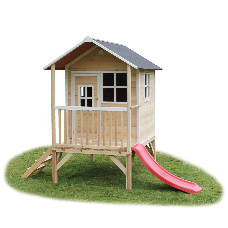 EXIT Maison cabane de jardin enfant avec toboggan Loft 300, bois, naturel