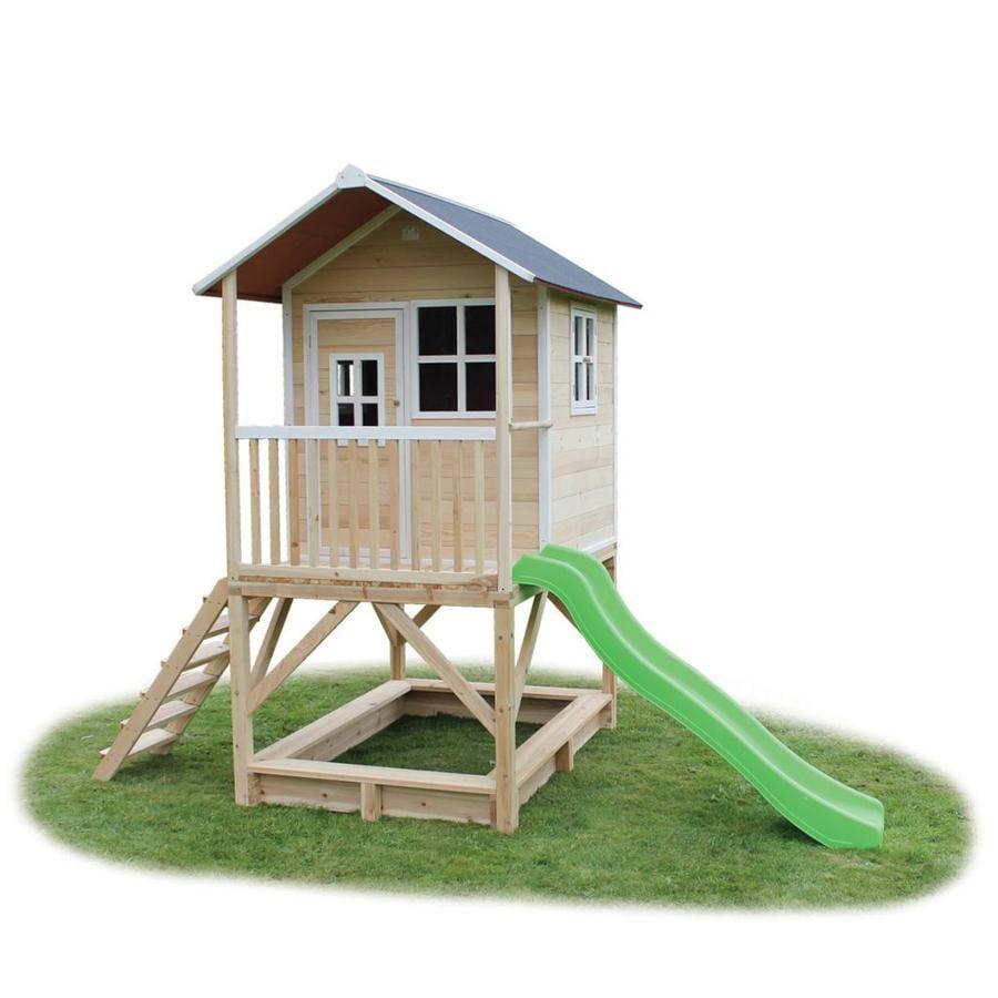 EXIT Maison cabane de jeu enfant avec toboggan Loft 500, bois, naturel