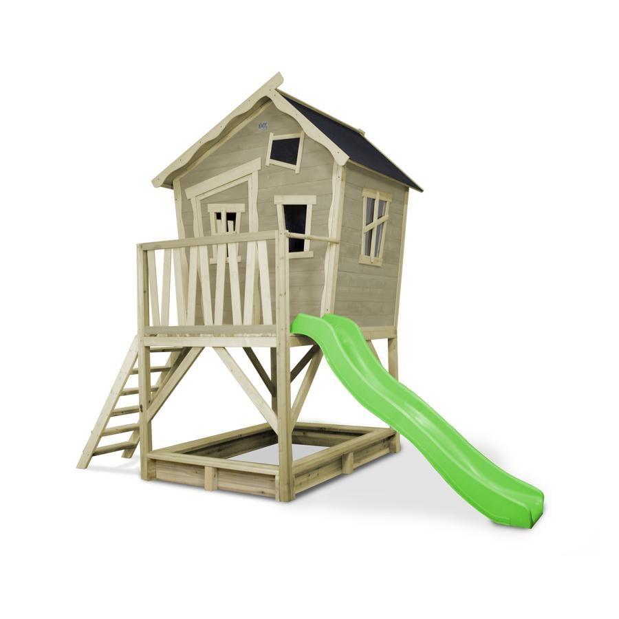 EXIT Maison cabane de jardin enfant avec toboggan Crooky 500, bois, grise
