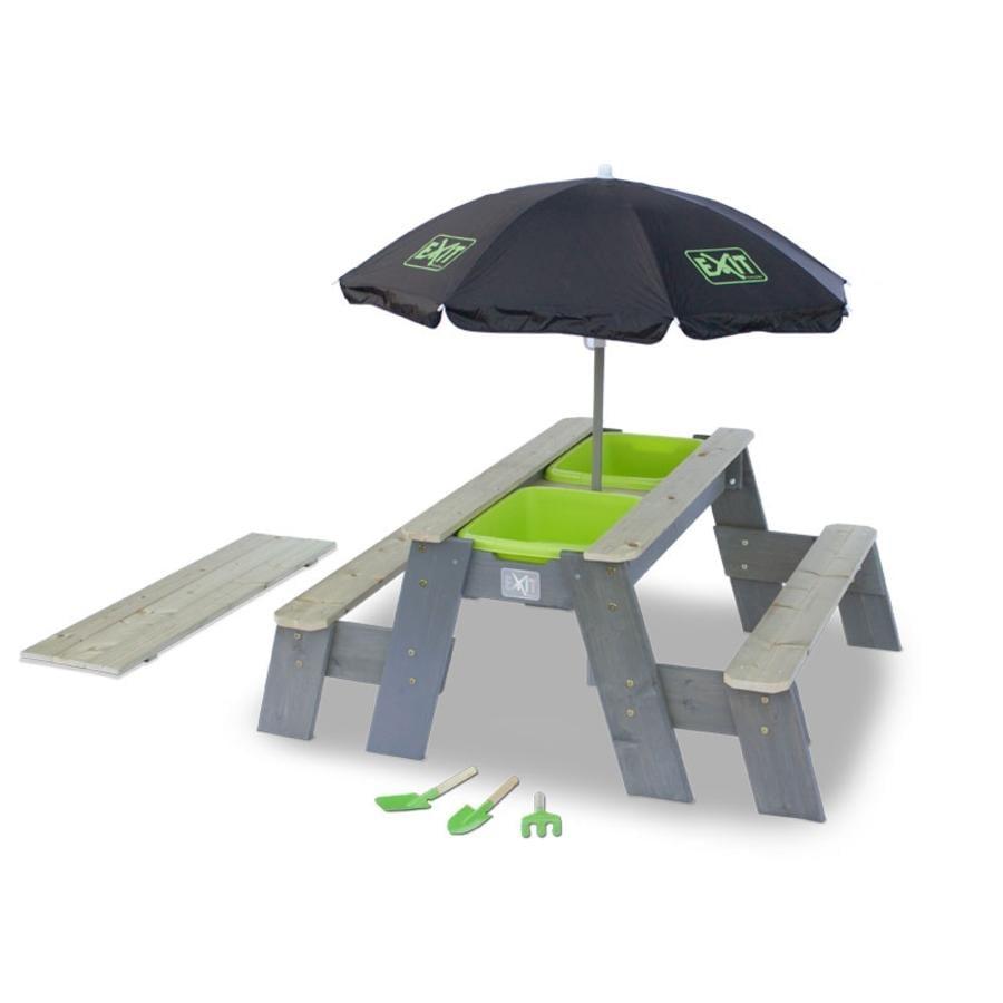 EXIT Aksent Sand,- Wasser- und Picknicktisch (2 Bänke) mit Sonnenschirm und Gartenwerkzeugen