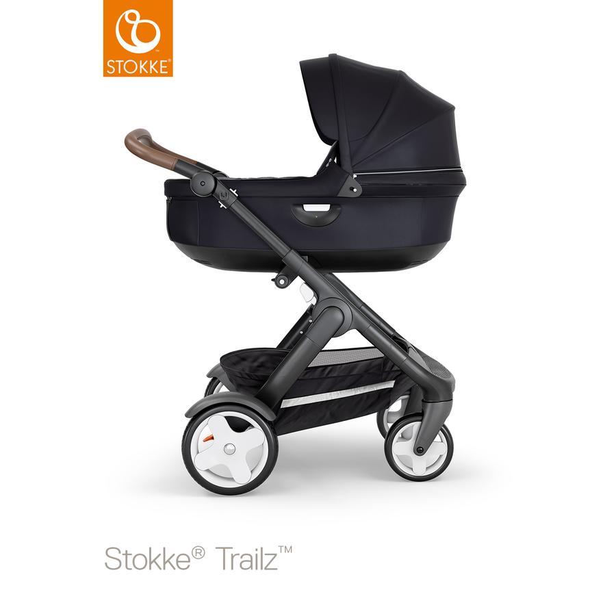 STOKKE® Kinderwagen Trailz™ Black/Brown mit Klassikrädern und Babyschale Black