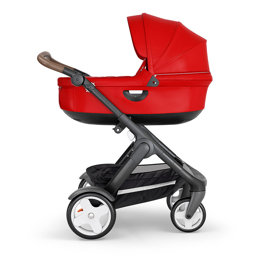 STOKKE® Kinderwagen Trailz™ Black/Brown mit Klassikrädern und Babyschale Red